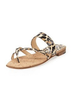 Susa Leopard-Print Snake Flat Thong Sandal, Brown/Black   Susa Leopard-Print Snake Flat Thong Sandal, Brown/Black