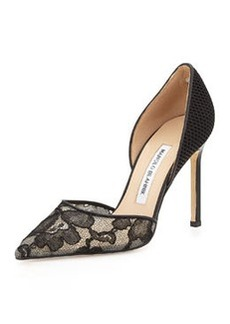 Tayler Lace & Fishnet d'Orsay Pump, Black   Tayler Lace & Fishnet d'Orsay Pump, Black