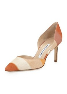 Tayler Striped Linen d'Orsay Pump, Beige   Tayler Striped Linen d'Orsay Pump, Beige