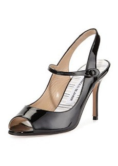Tegna Patent Leather Open-Toe Mary Jane Slingback, Black   Tegna Patent Leather Open-Toe Mary Jane Slingback, Black