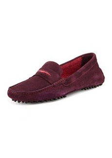 Terry-Trimmed Suede Driver, Aubergine/Cranberry   Terry-Trimmed Suede Driver, Aubergine/Cranberry
