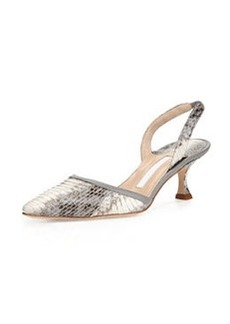Tian Low-Heel Snake Pump, Gray   Tian Low-Heel Snake Pump, Gray