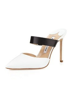 Trovina Two-Tone Leather Point-Toe Mule, Black/White   Trovina Two-Tone Leather Point-Toe Mule, Black/White