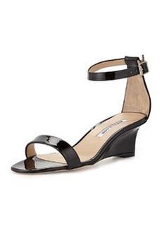 Valere Patent Demi-Wedge Sandal, Black   Valere Patent Demi-Wedge Sandal, Black
