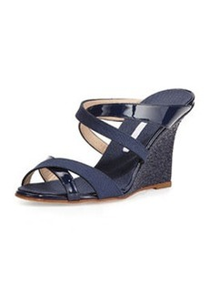 Varchi Patent Leather and Linen Crisscross Wedge Sandal, Navy   Varchi Patent Leather and Linen Crisscross Wedge Sandal, Navy