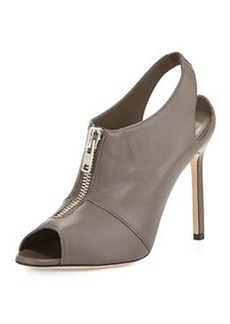 Vella Zip-Front Slingback Bootie, Medium Gray   Vella Zip-Front Slingback Bootie, Medium Gray