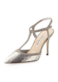 Wotton T-Strap Snakeskin Pump, Gray   Wotton T-Strap Snakeskin Pump, Gray