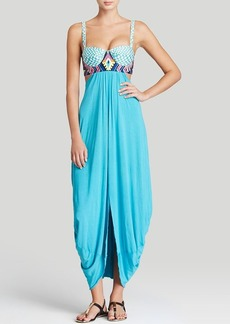Mara Hoffman Checkers Embroidered Maxi Dress Swim Cover Up