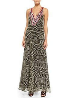 Mara Hoffman Deep-V Printed Beaded Georgette Gown