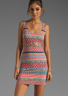 Mara Hoffman Lattice Mini Dress in Coral
