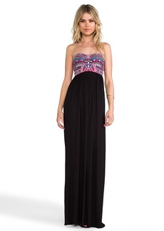 Mara Hoffman Mirror Embroidery Bustier Maxi Dress in Black