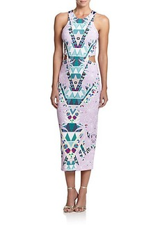 Mara Hoffman Printed Ponte Cutout Midi Dress