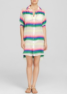 Mara Hoffman Rainbow Stripe Gauze Swim Cover Up Dress