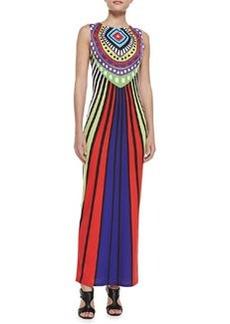 Mara Hoffman Rays Violet Mixed-Print Jersey Maxi Dress
