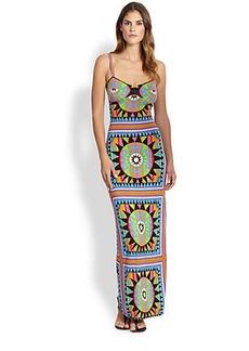Mara Hoffman Shakti Strip-Back Column Gown