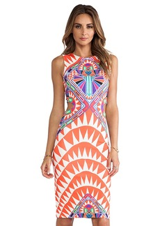 Mara Hoffman Side Cutout Fitted Dress in Orange