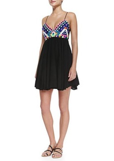 Mara Hoffman Sleeveless Embroidered-Bodice Mini Dress