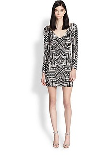 Mara Hoffman Star-Print Cutout Body-Con Dress