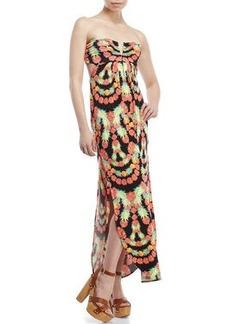 mara hoffman Strapless Tropical Print Maxi Dress