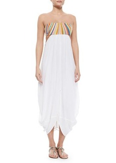 Mara Hoffman Stripe-Top Strapless Combo Dress  Stripe-Top Strapless Combo Dress