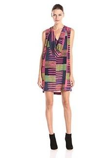 Mara Hoffman Women's Crepe Cowl Back Sleeveless Printed Dress, Connector Pink, Large
