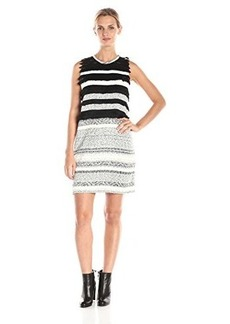 Mara Hoffman Women's Novelty Fringe Sleeveless Mini Dress, Tufted Stripe, Medium