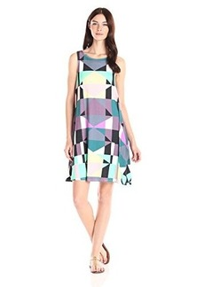 Mara Hoffman Women's Ponte Diamond Sleeveless Printed Swing Dress, Diamonds Plum, Large
