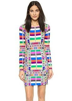 Mara Hoffman Women's Ponte Fitted Longsleeve Printed Dress, Riser Rainbow, Large