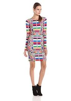 Mara Hoffman Women's Ponte Fitted Longsleeve Printed Dress, Riser Rainbow, Medium