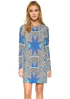 Mara Hoffman Women's Ponte Printed Longsleeve Dress, Star Basket Blue, Large