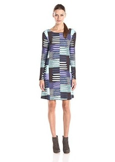 Mara Hoffman Women's Ponte Stripe Longsleeve Swing Dress, Connector Blue, Large