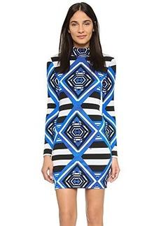 Mara Hoffman Women's Printed Jacquard Mini Turtleneck Longsleeve Dress, Keeper Blue, X-Small