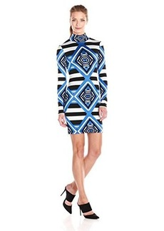 Mara Hoffman Women's Printed Jacquard Mini Turtleneck Longsleeve Dress, Keeper Blue, Medium