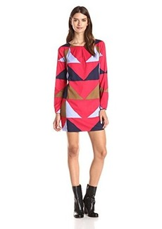 Mara Hoffman Women's Printed Longsleeve Keyhole Mini Dress, Triad Red, X-Small