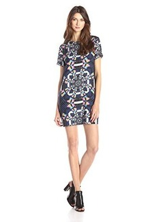 Mara Hoffman Women's Short Sleeve Printed Shift Dress, Tesselate Navy, Medium