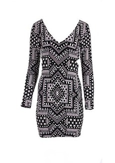 Mara Hoffman Women's Star Side Cutout Long Sleeve Fitted Dress, Star Jacquard, Small
