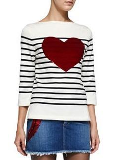 3/4-Sleeve Striped Top W/ Heart   3/4-Sleeve Striped Top W/ Heart