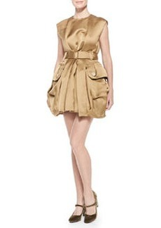 Belted Satin Mini Bubble Dress, Gold   Belted Satin Mini Bubble Dress, Gold