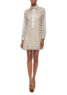 Button-Embroidered Chiffon Dress, Putty   Button-Embroidered Chiffon Dress, Putty