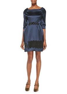 Cabochon-Embroidered Duchesse Satin Dress, Navy   Cabochon-Embroidered Duchesse Satin Dress, Navy