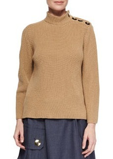 Cashmere-Blend Military Rib-Knit Sweater   Cashmere-Blend Military Rib-Knit Sweater