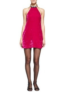 Crystal-Neck Velvet Halter Dress   Crystal-Neck Velvet Halter Dress