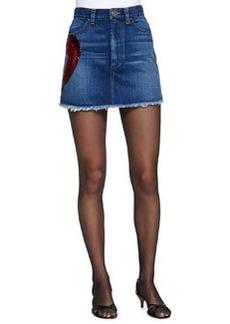 Denim Miniskirt W/ Heart Appliqué   Denim Miniskirt W/ Heart Appliqué