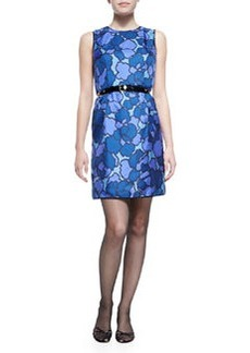 Floral-Print Silk Sheath Dress with Contrast Back   Floral-Print Silk Sheath Dress with Contrast Back