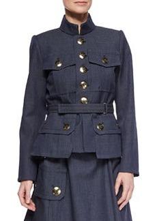 Four-Pocket Military Button Jacket   Four-Pocket Military Button Jacket