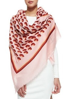 Geometric Fan-Print Scarf, Pink/Multi   Geometric Fan-Print Scarf, Pink/Multi