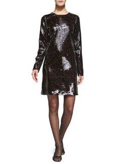 Long-Sleeve Sequined Shift Dress   Long-Sleeve Sequined Shift Dress