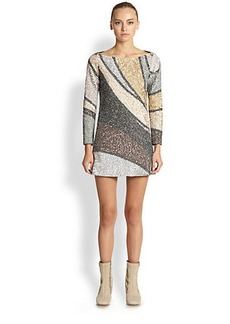 Marc Jacobs Beaded Colorblock Shift Dress