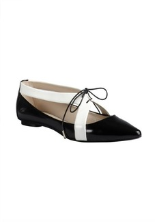 Marc Jacobs black and white leather lace up cutout pointed toe flats
