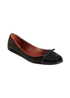 Marc Jacobs black patent and calf hair flats